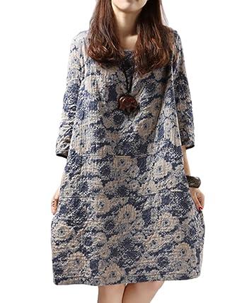 3815b53c08f Robe Femme Manche Courte Fleuri Imprimé Coton Lin Vintage Tunique Robe  Grande Taille Jupe De Plage