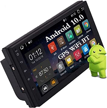Double Din Bluetooth Car Stereo with Backup Camera Quad Core Android 10.0 Car Radio Support 7inch Touch Screen GPS Navigation Phone Mirror 1080P Video SWC WiFi 4G 3G USB SD FM AM RDS AUX for 2 Din