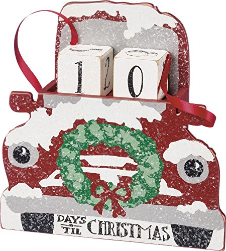 Primitives by Kathy Red Truck With Wreath Advent Calendar 6.5'' x 6.5'' x 1.75'' by Primitives by Kathy (Image #1)