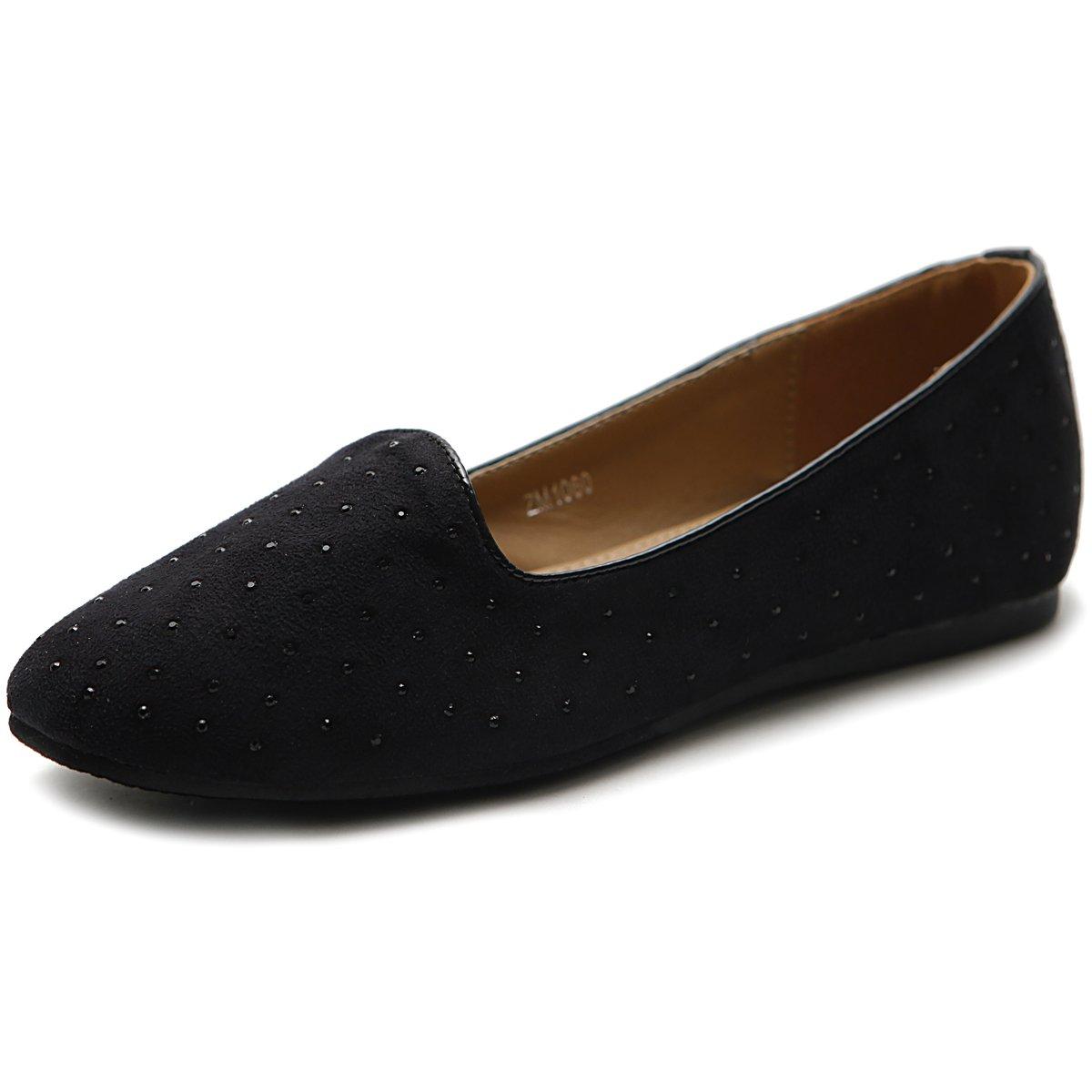 Ollio Women's Shoe Ballet Suede Jewel Stud Comfort Flat B00MV4ZLPM 7.5 B(M) US|Black