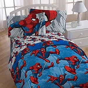 Amazon.com: 4pc Marvel Spiderman Twin Bedding Set City ...