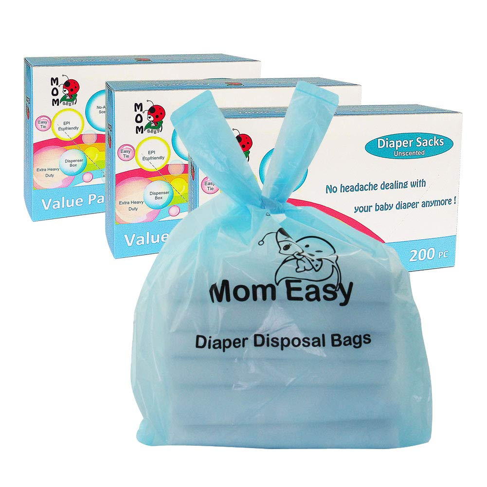 MOM EASY Baby Disposable Diaper Sacks Waste Bags with Handles, 600 Counts, Unscented by MOM EASY