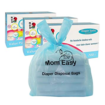 MOM EASY Baby Disposable Diaper Sacks Waste Bags with Handles 200 Counts Unscented