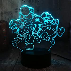 Cute Game Action Figure Super Mario Brothers Toys 3D LED Multicolor Night Light 7 Colors Desk Lamp Decor Home Party Decor Child Gift Kids Toys Birthday Xmas Gift (Super Mario Bros.)