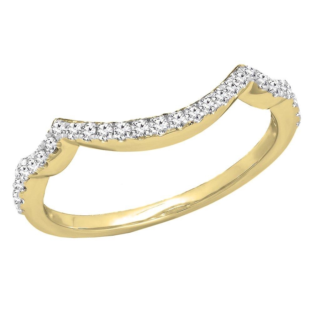 0.20 Carat (ctw) 14K Yellow Gold White Diamond Ladies Wedding Contour Guard Ring 1/5 CT (Size 6)