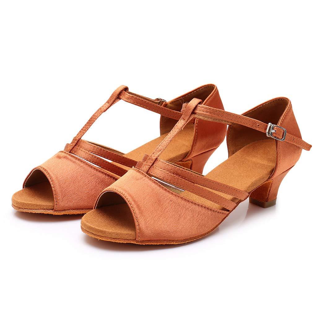 ★QueenBB★ Girls Soft-Sole Satin Ballroom Shoes Latin Salsa Dance Shoes Ballroom Party Ballroom Wear (Little/Big Kid) Brown
