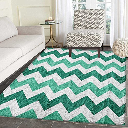 Modern Rugs for Bedroom Pastel Chevrons Peru Zigzag Lines in Green Toned Geometric Contemporary Circle Rugs for Living Room 3'x5' Dark Green Mint Green ()