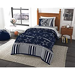 MN 4 Piece NFL Cowboys Comforter with Sheets Twin Set, Blue Multi Football Themed Bedding Sports Patterned, Team Logo Fan Merchandise Athletic Team Spirit Fan, Polyester, For Unisex