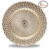FANTASTIC :)  Round 13 Inch Plastic Charger Plates with Eletroplating Finish (6, Peacock Pattern Gold)