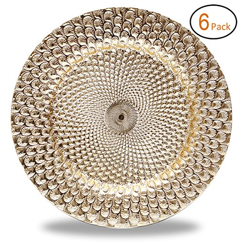 FANTASTIC :)TM Round 13 Inch Plastic Charger Plates With Electroplating Shinny Finish (6-pcs, Peacock Pattern Gold) -