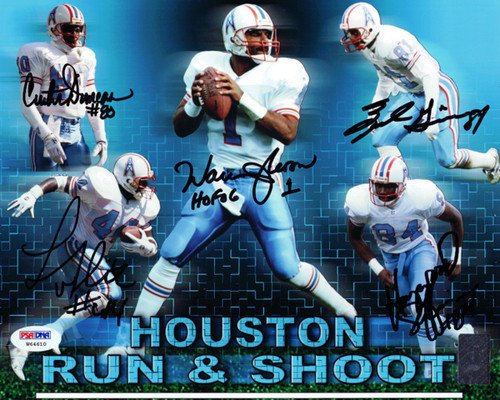 Houston Oilers Run and Shoot Signed 8x10 Photo HOF 06 With 5 Signatures Including Warren Moon - PSA/DNA Authentication - Autographed NFL Football Photos
