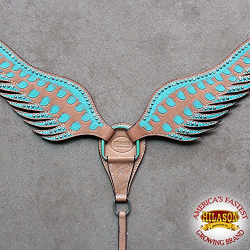 HILASON Western American Leather Horse Breast Collar Turquoise Brown Angel Wings from HILASON