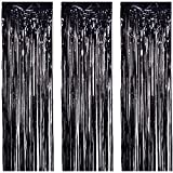 JVIGUE 3 Pack Foil Curtains Metallic Foil Fringe Curtain for Birthday Party Photo Backdrop Wedding Event Decor (Black)