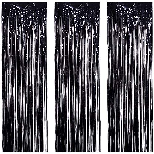 JVIGUE 3 Pack Foil Curtains Metallic Foil Fringe Curtain for Birthday Party Photo Backdrop Wedding Event Decor (Black) by JVIGUE