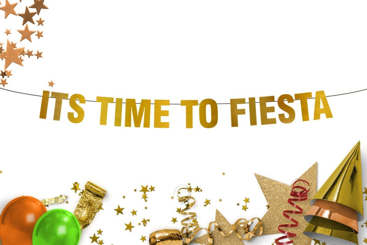 Fiesta - Fiesta sign It's Time To Fiesta Party Gold Banner-fiesta cactus sombrero salsa mustache theme party decor tequila bar sign Party decoration-Funny banner-Final Fiesta-happy birthday banner