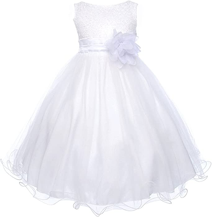 Absolutely Beautiful Sequined Bodice with Double Tulle Skirt Party flower  Girl Dress-KD305-White-10