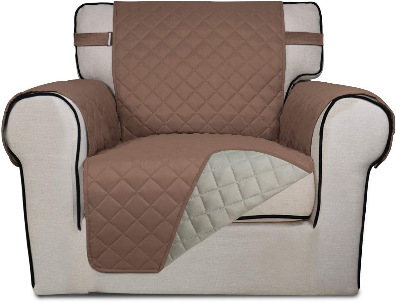 PureFit Reversible Quilted Sofa Cover, Spill, Water Resistant Slipcover Furniture Protector, Washable Couch Cover with Non Slip Foam and Adjustable Strap for Kids, Pets (Chair, Brown/Beige)