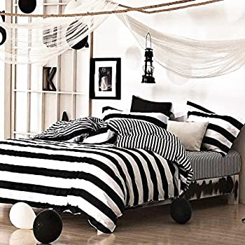 cabana stripe modern duvet cover 100cotton twill bedding set geometric white and navy distressed