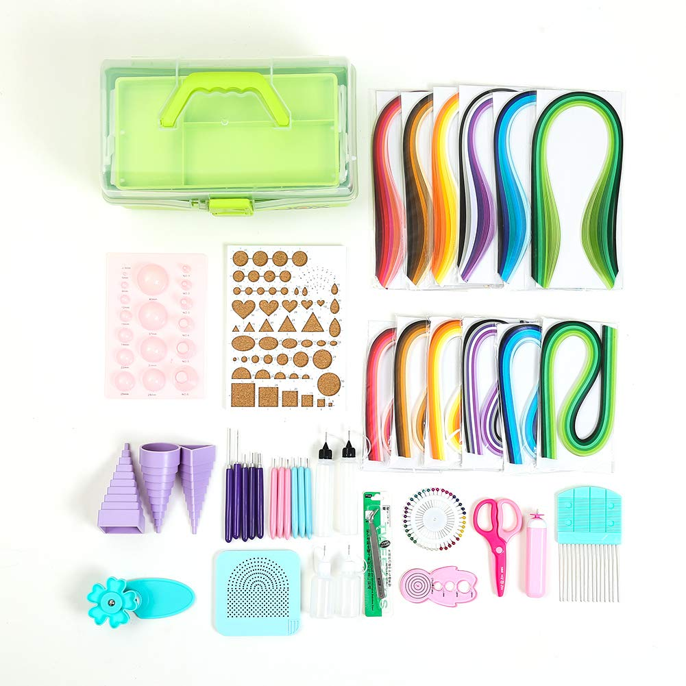 Quilling Tools and Supplies,Paper Strips Green Storage Toolbox Paper Quilling Kits