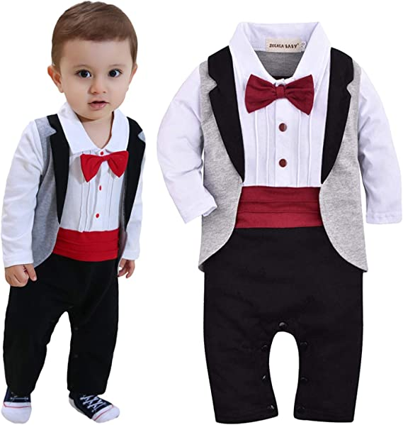 UK Infant Baby Boys Gentleman Formal Clothes Long Sleeve Romper+Pants Outfits