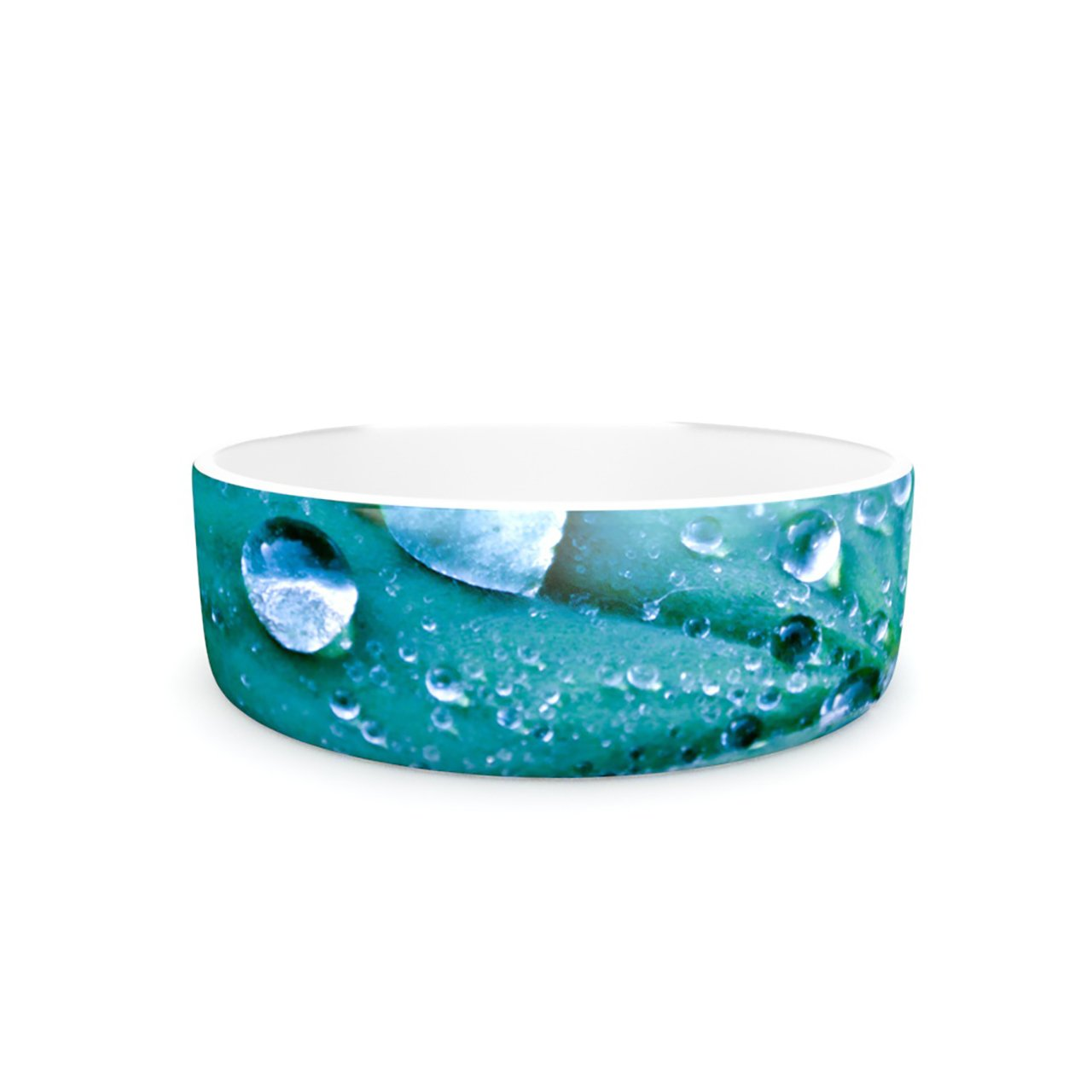 Kess InHouse Iris Lehnhardt Water Droplets Aqua  Pet Bowl, 7-Inch, Teal