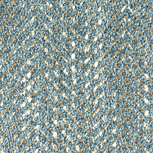 Sky Blue Herringbone Houndstooth Texture Plain Wovens Chenille Crypton Upholstery Fabric by The Yard -