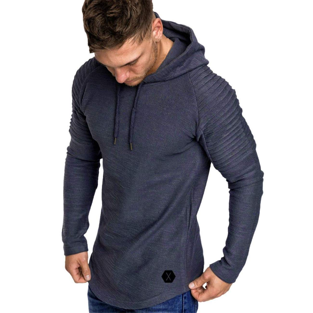 Rosennie Fashion Mens Hoodie, Men Autumn Winter Fitness Long Sleeves Gyms Vest Tees Slim Fit Hooded Waistcoats Casual Outerwear Pleats Raglan Coat