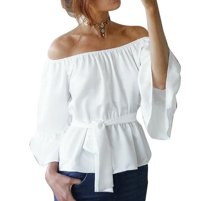Meedot Mujeres Blusa Camiseta Gasa Tops - Señoras Pullover Casual Off The Shoulder Blusa Niña Moda
