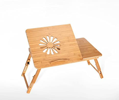 TAO Mesa plegable plegable de bambú del ordenador, escritorio de la cama del ordenador portátil con ...