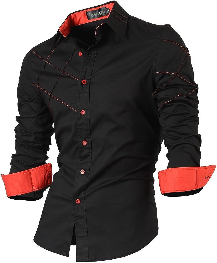 jeansian Uomo Camicie Casual Classiche Manica Lunga Slim Fit Men Shirts 2028