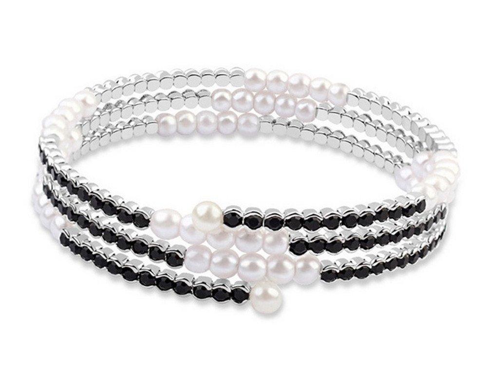 Simulated Pearl & Crystal Open Cuff Bangle Bangle Wrap Bracelet for Wedding Bridal-BGW149