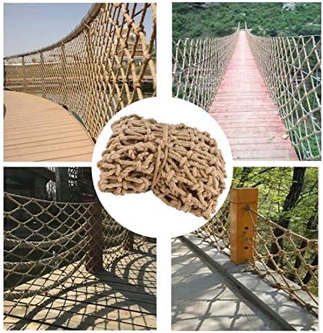 セーフティネット麻ロープネット屋外クライミングネット子供のための3フィートワイドヘビーデューティーネットバルコニー手すり階段保護フェンス装飾メッシュ遊び場クライミングはしごとスイングロープ