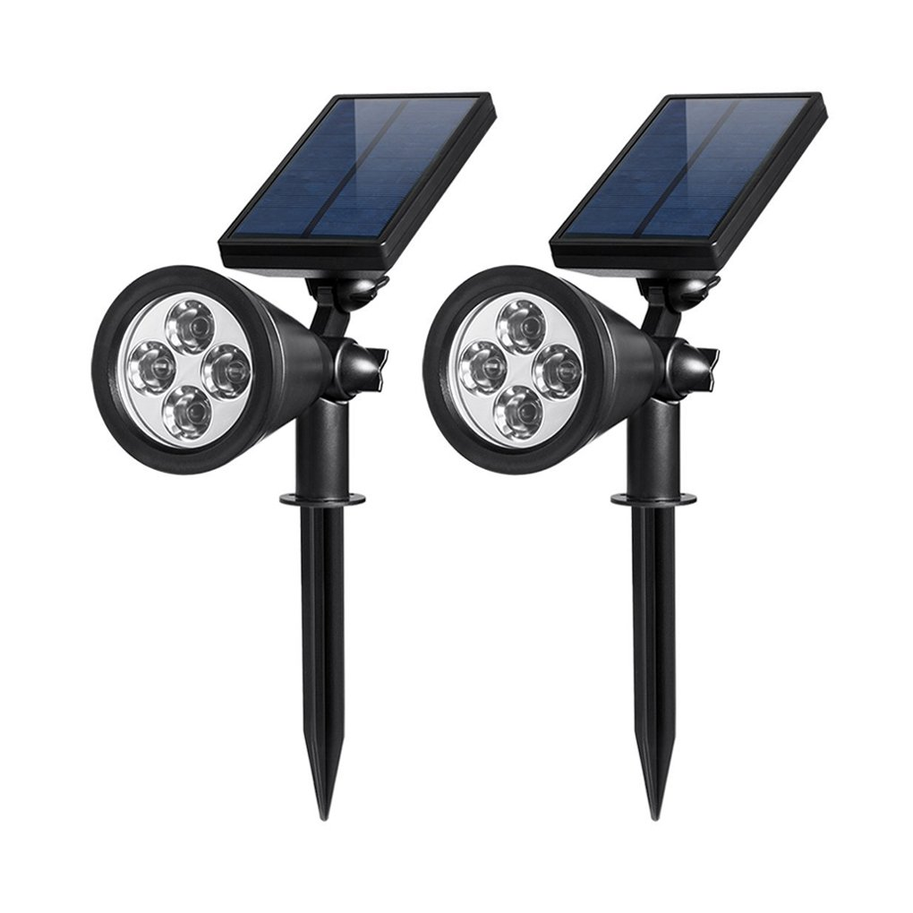 2-in-1 Easy Install Wall and in-Ground Solar Lights Adjustable Security Lighting Dark Sensing Auto On//Off 2 Pack AMBOX-PAT-LS-03090 Ambox Solar Spotlights Rugged and Waterproof Outdoor Landscape Light 4 LED