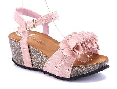 149c60d9a9d9af Schuhtempel24 Damen Schuhe Keilsandaletten Sandalen Sandaletten rosa  Keilabsatz Blumenapplikation Nieten 7 cm
