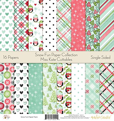 Pattern Paper Pack - Snow Fun - Scrapbook Premium Specialty Paper Single-Sided 12