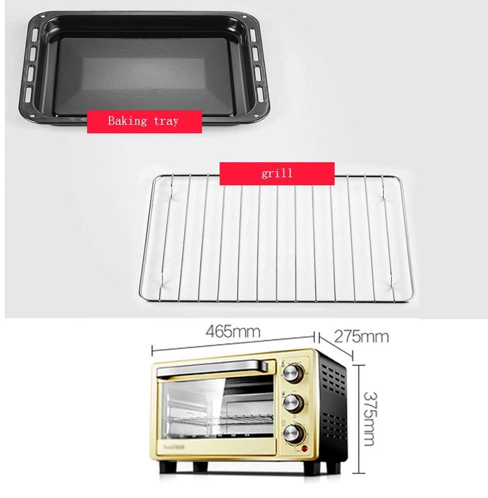 LQRYJDZ Electric Oven, 18L Household Baking Function, Pizza Maker, Large Capacity, Oven with Baking Pan Broil Rack -1400(W),60 Minute Timing (Color : Gold, Size : 46.527.537.5CM) by LQRYJDZ