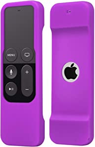 Remote Case Compatible with Apple TV 4K (5th) and 4th Generation, Auswaur Shock Proof Silicone Remote Cover Case Compatible with Apple TV 4th Gen 4K 5th Siri Remote Controller - Purple