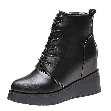ZARLLE Moda Botas de cuña Fondo Grueso Aumentar Dentro Zapatos de ...