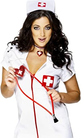 Nurses Stethoscope Heart Shaped Red Ladies Fancy Dress Costume Accessory New
