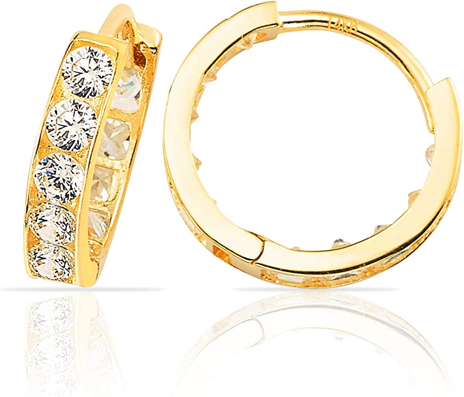 20d359be32692 Small CZ Huggie Hoop Earrings in 14K Yellow Gold