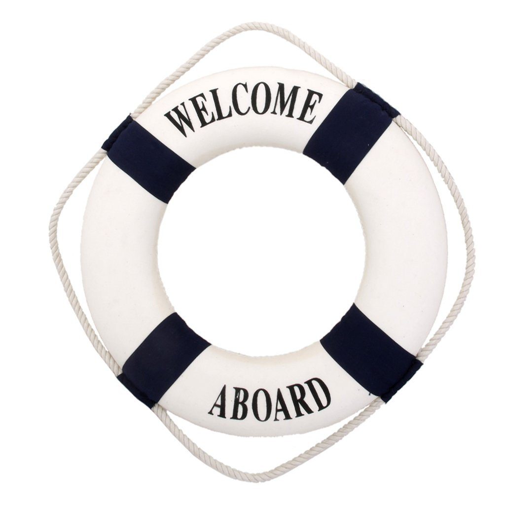 MagiDeal Welcome Blue Nautical Wall Decor Ship Boat Ring Life Buoy Preserver 14cm