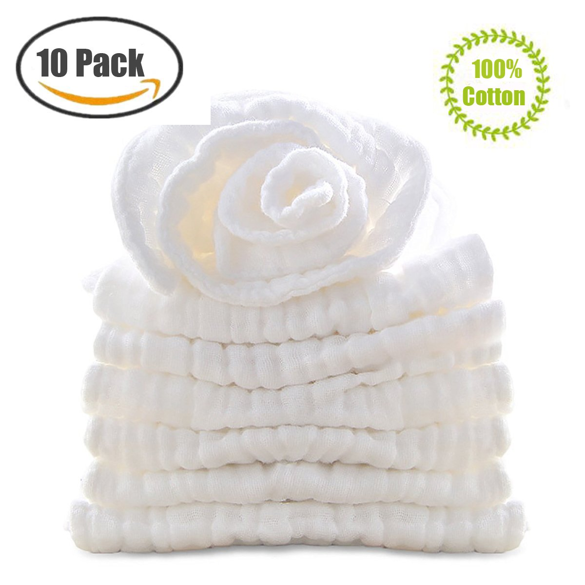 BWINKA 10-Pack Gauze Muslin Square,11x11 Organics Baby Washcloths, Premium Reusable Wipes - Extra Soft For Sensitive Skin,Newborn Muslin Warm Baby Bath Towels Pure White