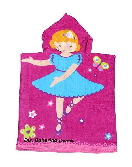 Albornoz poncho toalla algodón bailarina playa niños
