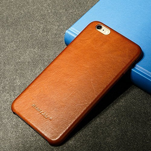 Jisoncase iPhone 6s Case Genuine Leather Hard Back Case Slim Fit Protective Cover Snap on Case for iPhone 6/6s [Brown]-JS-I6S-02A20