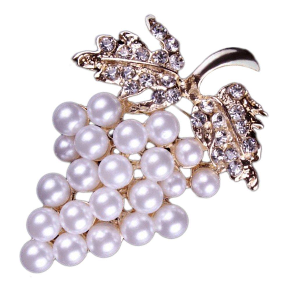 Nikgic 1pc Broche de perlas de cristal de moda Broche de diamantes de  aleación Nikgic- 0f56a1a416f