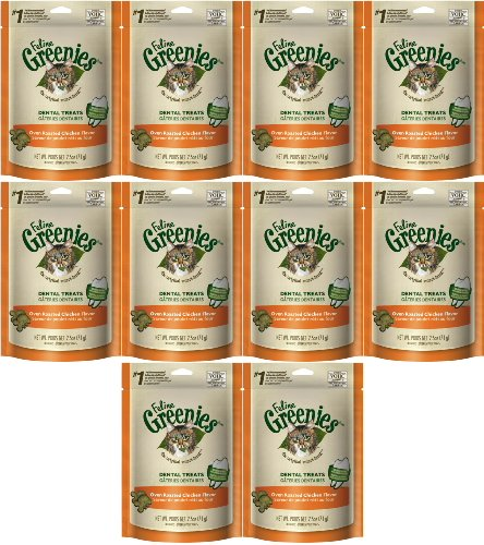 Feline Greenies Dental Treat Oven Roasted Chicken 1.56lb (10 x 2.5oz) by Greenies