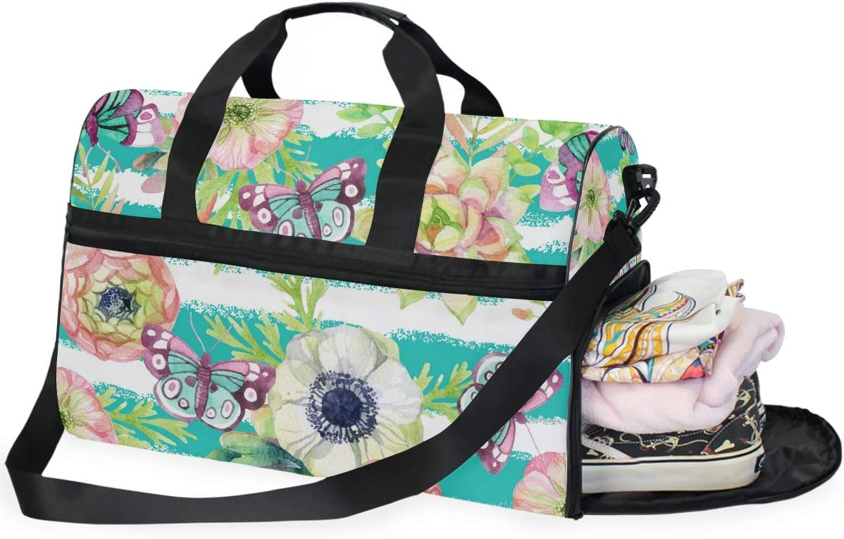Travel Duffels Anemone And Herbs Duffle Bag Luggage Sports Gym for Women /& Men