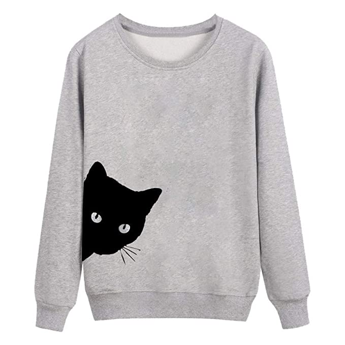 Amazon.com: Dainzuy Ladies Sexy Casual Sweatshirt,Long Sleeve Cat Print Hoodie Pullover Tops Blouse: Kitchen & Dining