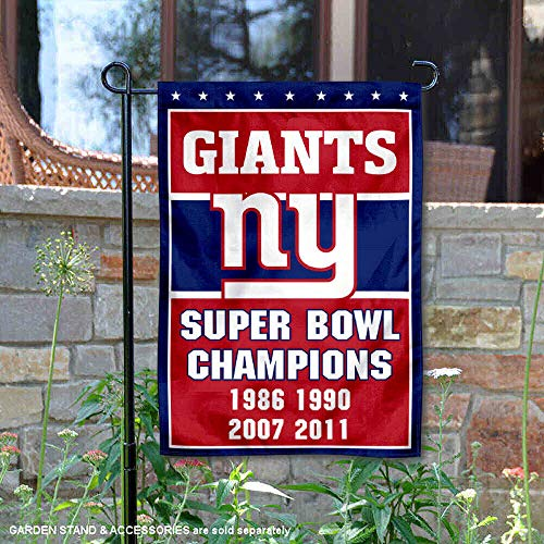 WinCraft New York Giants 4 Time Super Bowl Champions Double Sided Garden Flag