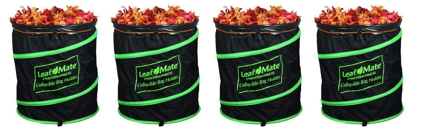 Leafmate Collapsible Yard Bag Holder, Heavy Duty, Reusable Leaf and Lawn Waste Bag (Pack of 4)